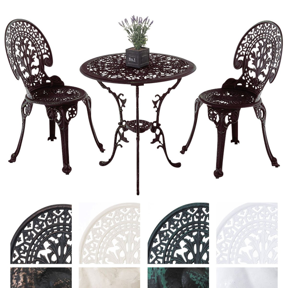 CLP Sitzgruppe Set VISHNU Gusseisen, antik, Tisch rund Ø 65 cm ...