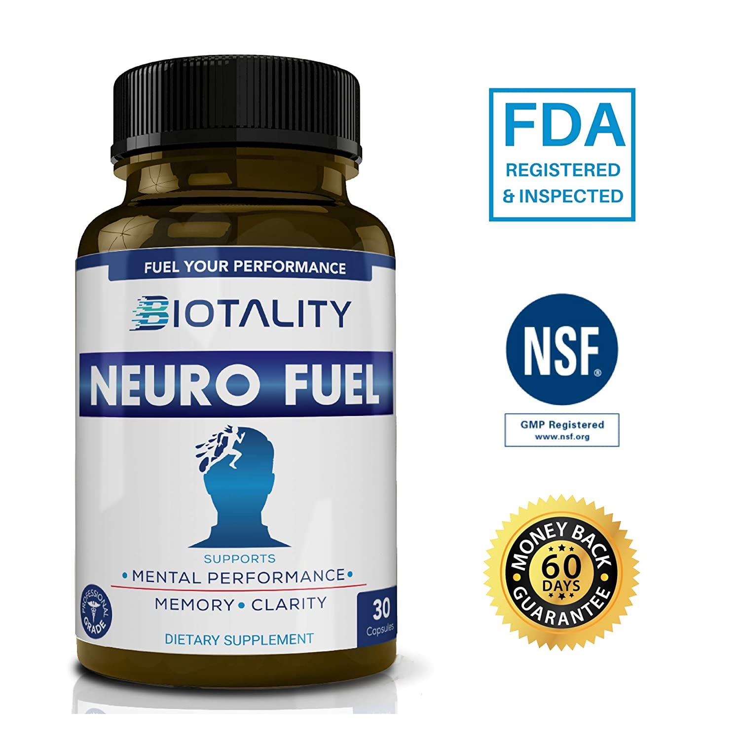 Amazon.com: Neuro Fuel Brain Support Supplement. All Natural Memory Booster, Scientifically Formulated to Improve Mental State and Focus with Bacopa ...