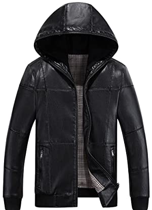 JHSPJA Men Fashion Faux Leather Jacket Casual Slim Coat Zip Up Hooded Black