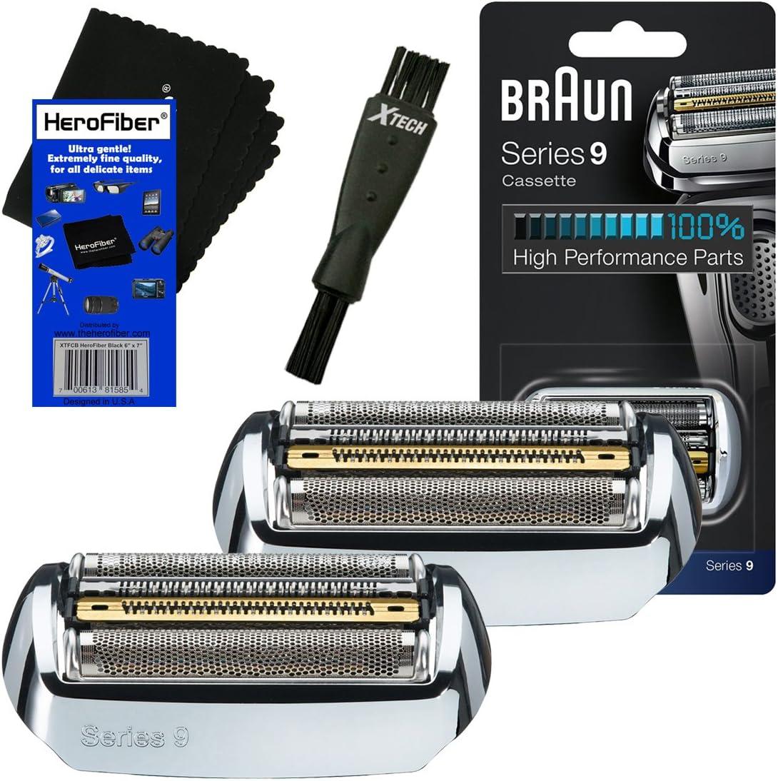 Braun 92S Serie 9 - Cabezal de recambio para papel de aluminio y cortador (2 unidades) para 9080, 9090, 9093, 9095, 9240, 9242, 9250, 9260, 9280, 9290, 9291, 9292, 9293, 9295, 9296, 9297, 9299 afeitadoras + cepillo de afeitar + HeroFiber: Amazon.es ...