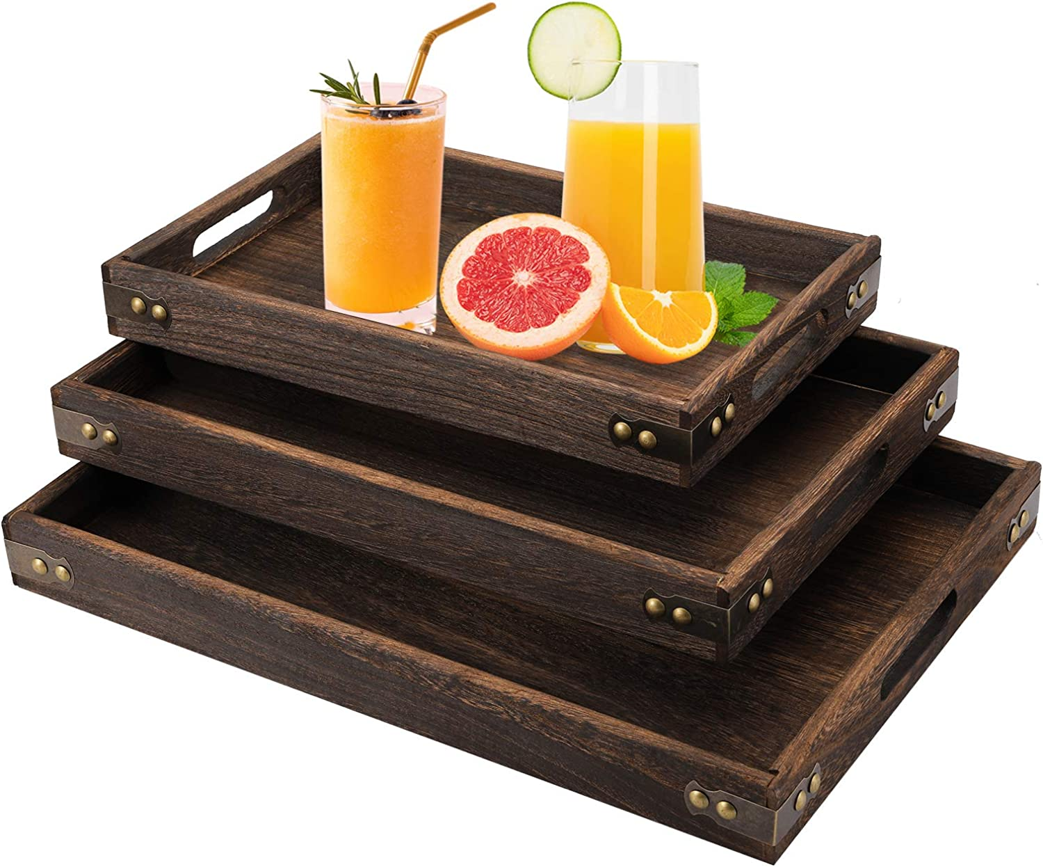TOPZEA 3 Pack Wood Serving Tray, Rectangle Service Trays with Handles, Wooden Food Serving Tray for Breakfast, Dinner, Tea, Coffee, Fruits, Bar, Parties, Natural