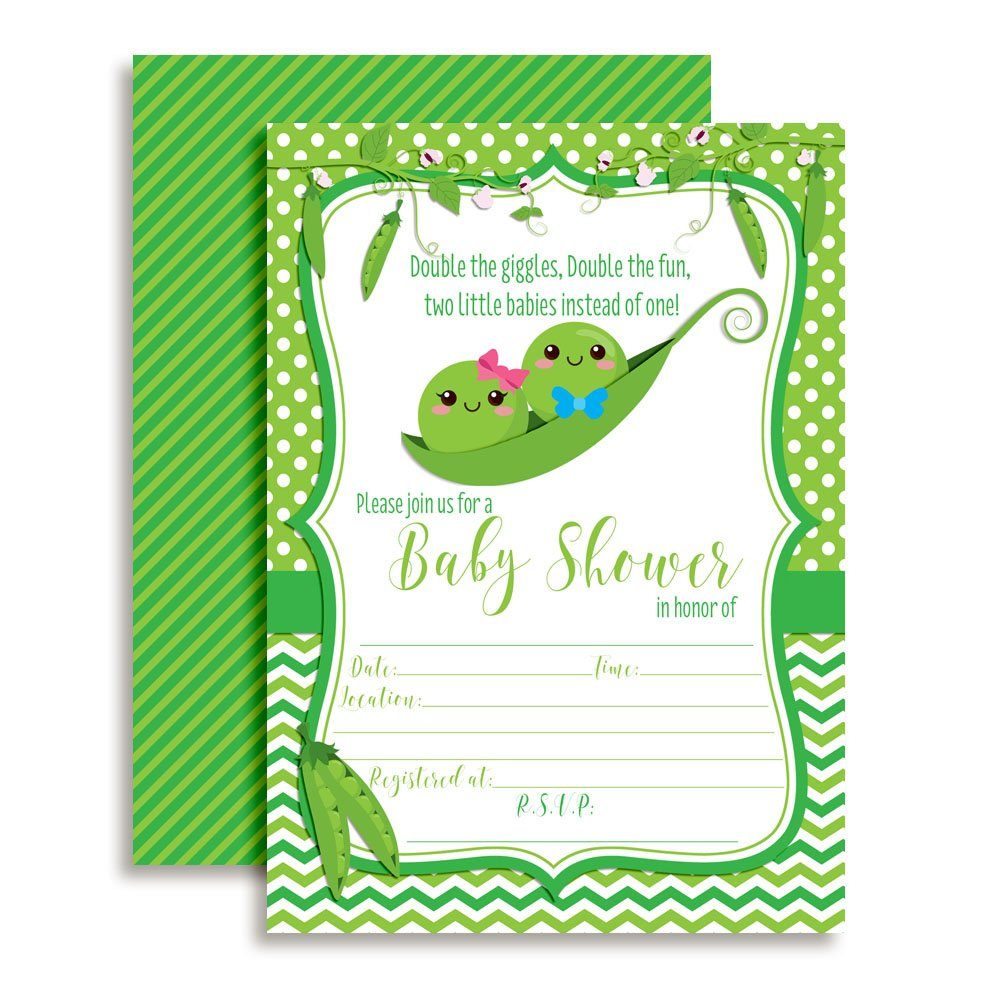 Two Peas in a Pod Twin Boy and Girl Baby Shower Invitations 20 5''x7'' Fill in Cards with Twenty White Envelopes by AmandaCreation