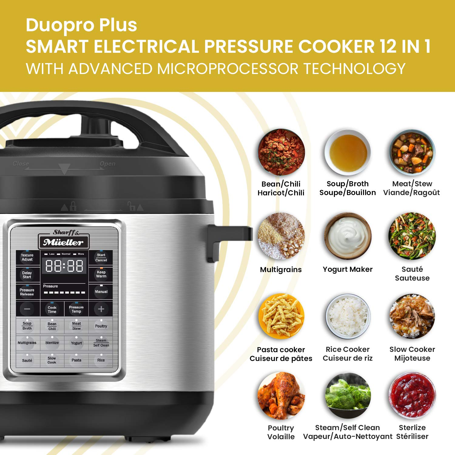 Electric Pressure Cooker 6 Quart Stainless Steel 12 in 1 Programmable Multipot Cooker Duopro RecipeBook Included by Sharff and Mueller by Sharff & Müeller (Image #6)