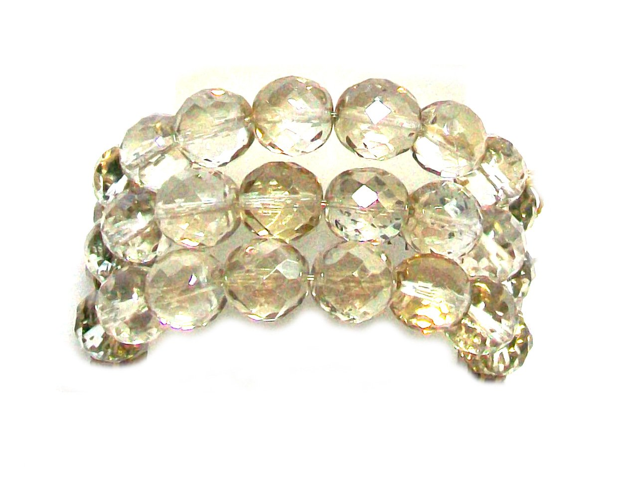 Creations Georgianni 14k Antique Gold Plated Stretch Bracelet with Swarovski Crystals, 7'' by Creations Georgianni