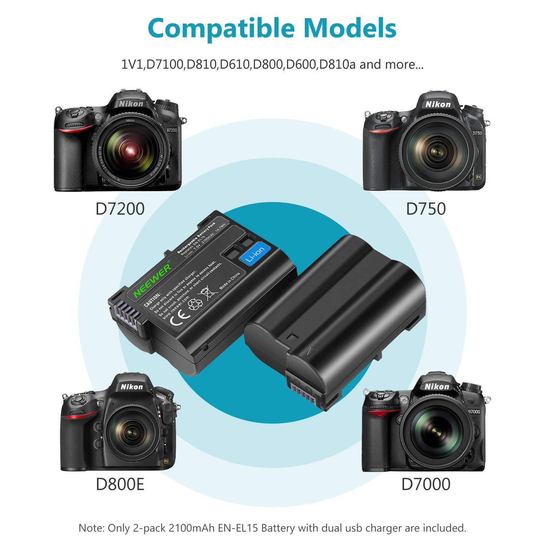 Neewer Nikon EN-EL15 Doble Cargador con 2 Baterías de Repuesto ...