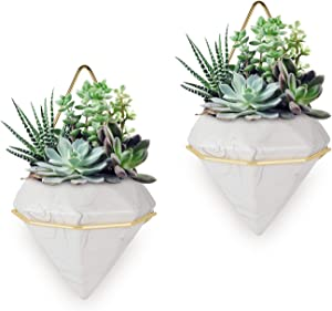 LYOOMALL Ceramic Wall Planters Vase with Gold Metal Frame Succulent Pot Air Plants Mini Cactus Artificial Flowers Hanging Diamond Shape Wall Décor 2 Pack (Large, Marble)