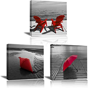 Canvas Wall Art Painting Decor - Modern Home Decoration Living Room Bedroom Beach Coastal Life Theme Red Chair Umbrella Print Grey Background Rustic Office Hanging Picture Artwork Poster