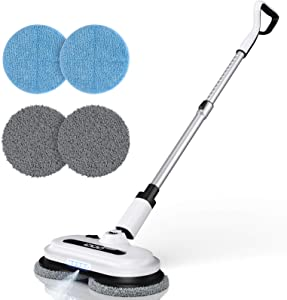 Cordless Electric Spin Mop, Spray Mop with Built-in 300ml Water Tank for Floor Cleaning, Polisher with LED Headlight for Hardwood & Tile & Marble & Laminate Floors, Scrubber and Waxing with 4 Mop Pads