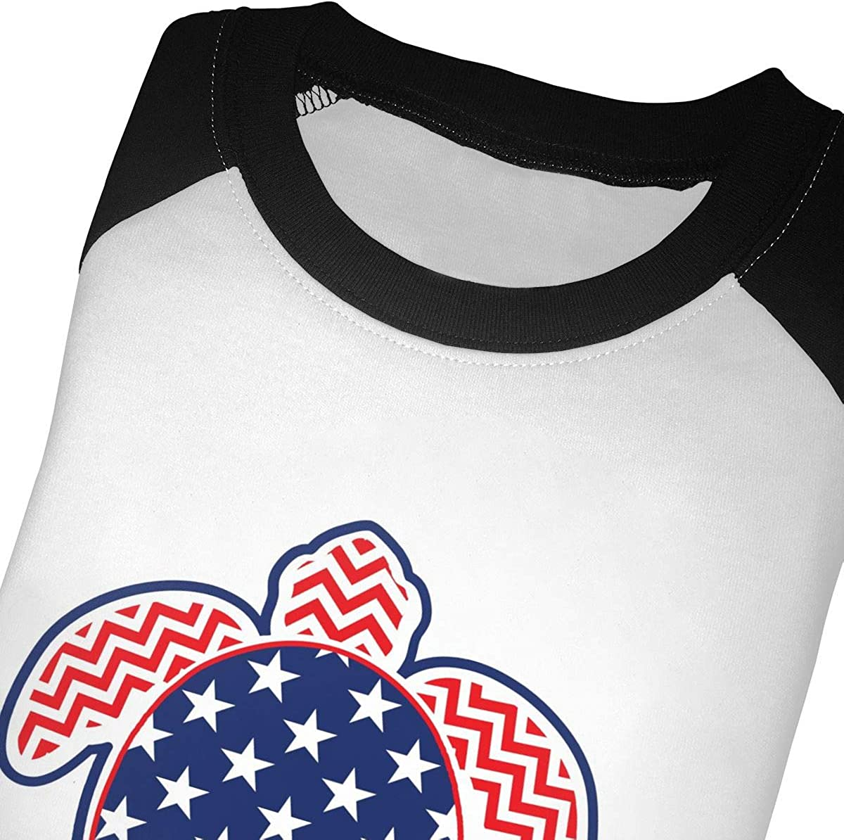 Stars and Strips Sea Turtle Kids Jersey Raglan T-Shirt Children 3//4 Sleeve Baseball Shirt Top
