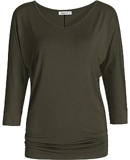 9ab3b02b65051 TWINTH Womens 3 4 Sleeve Dolman Drape Top with Side Shirring Loose ...