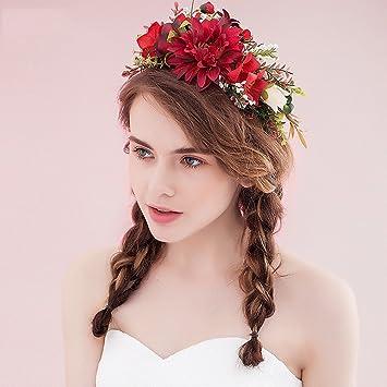Amazon De Okbo Frauen Madchen Seide Garn Blumen Krone Haarschmuck