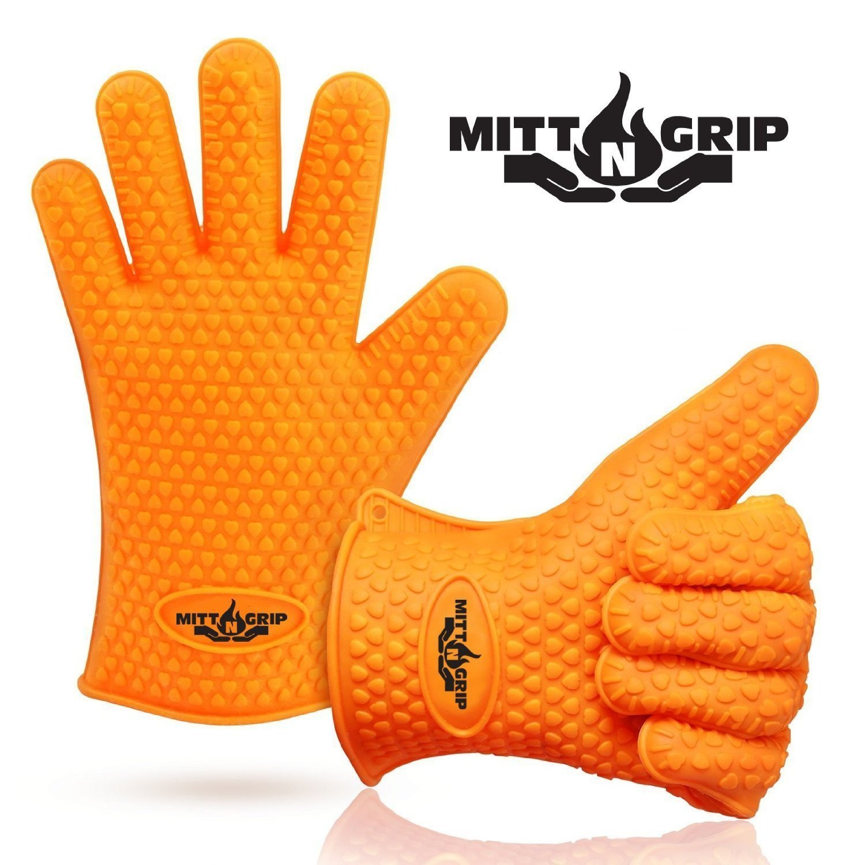 Mitt-N-Grip Extra Thick Silicone Oven Gloves - Orange (Set of 2)