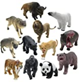 12 Piece Wildlife Animals Action Figure,Realistic Animals Action Model