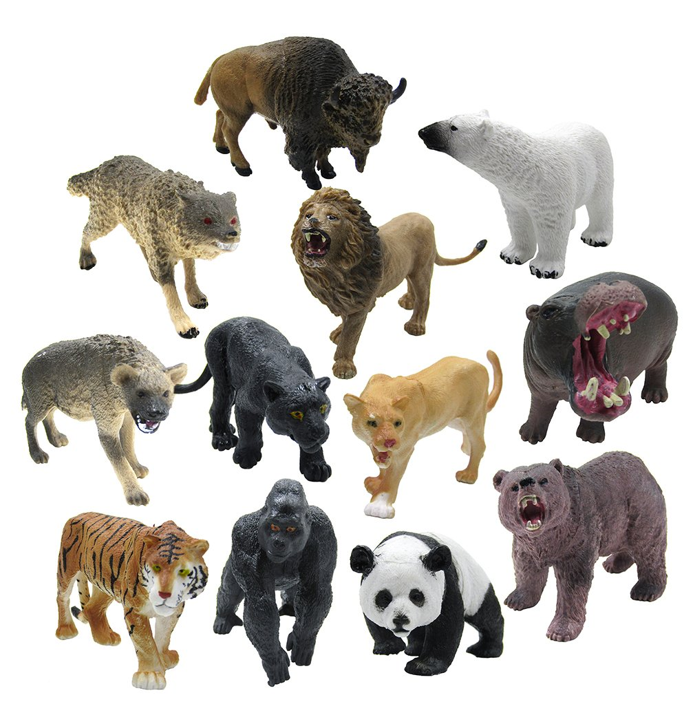 12 Piece Wildlife Animals Action Figure,Realistic Animals Action Model M R Y