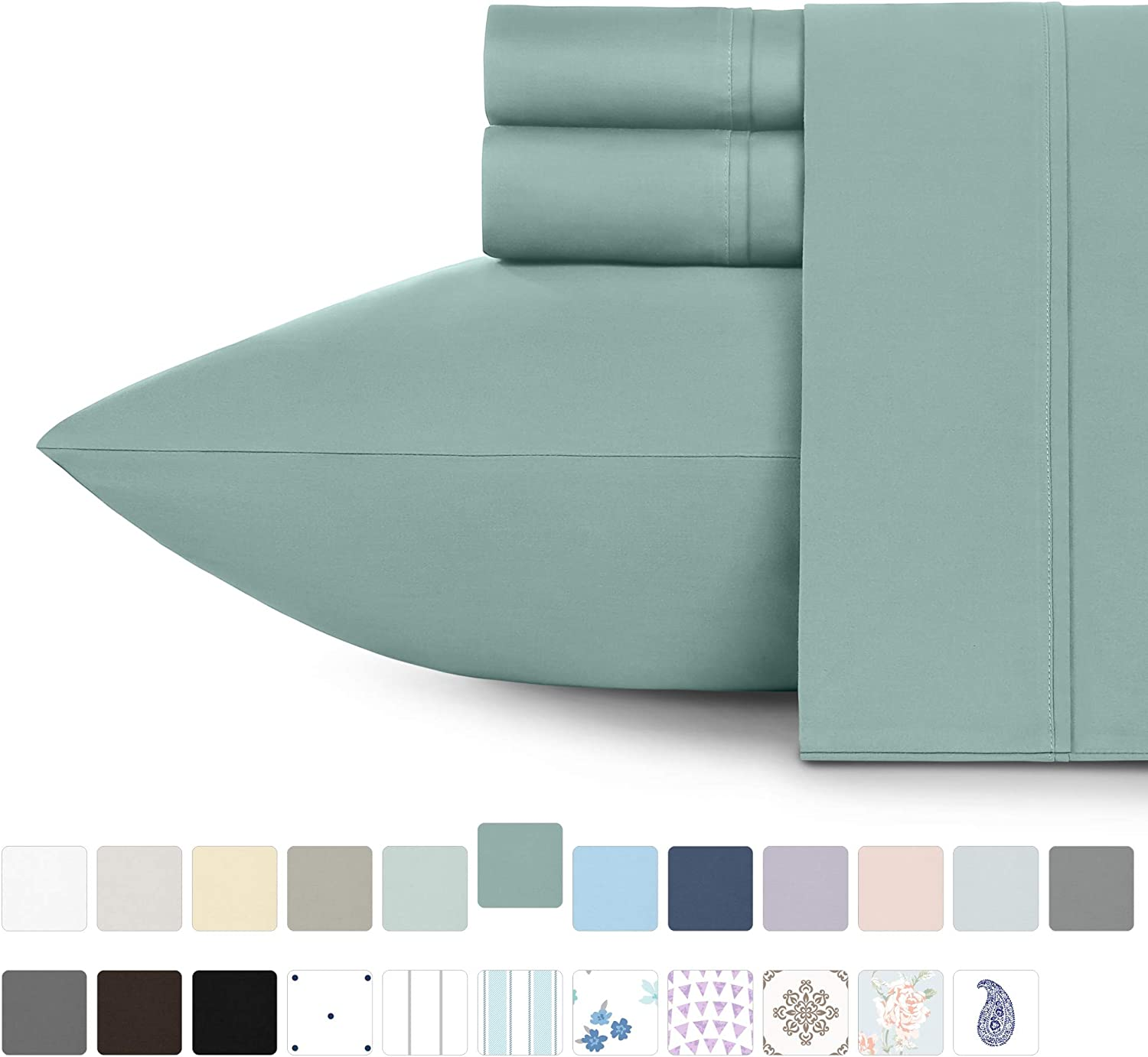Premium 400-Thread-Count 100% Natural Cotton Sheets - 4-Piece Green Sage Queen Size Sheet Set Long-Staple Combed Cotton Bed Sheets for Bed Sateen Weave Sheets Set Fits Mattress Upto 18'' Deep Pocket