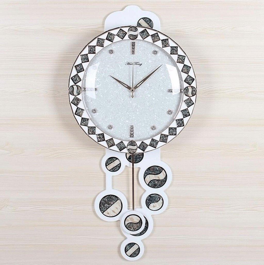 TXXM® 木製のスイングウォールクロックシェル彫刻のリビングルーム特大のミュートクリエイティブな牧歌的な時計と時計 (サイズ さいず : L l) B07DYH58WV L l L l
