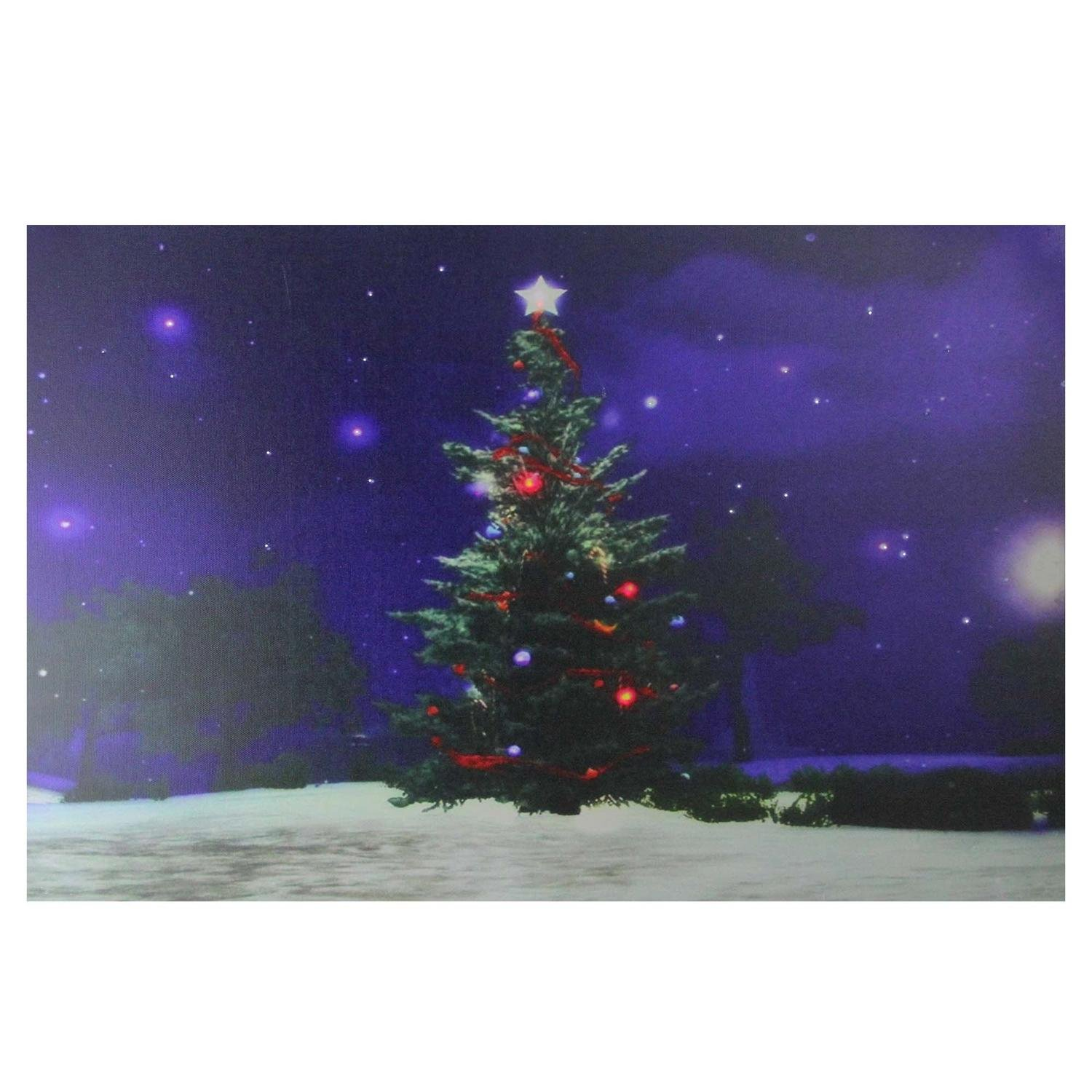 Northlight Lighted Color Changing Christmas Tree Canvas Wall Art, Green
