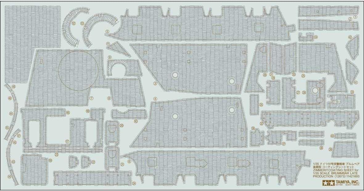 Tamiya 12673 12673-1:35 Zimmerit Dekor SD.KFz.166 Brummbär, Modellbau, Basteln, Hobby, Pegamento, Accesorios, Piezas de Repuesto, k.A