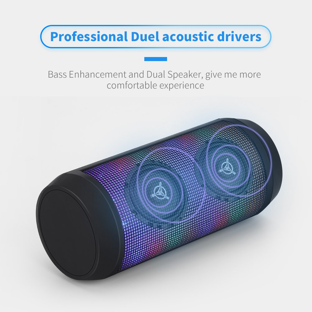 Bluetooth Speaker 4 Colors LED Lights Rich Bass HD Audio 8 Hours Play Time Built in Mic Handsfree Calling