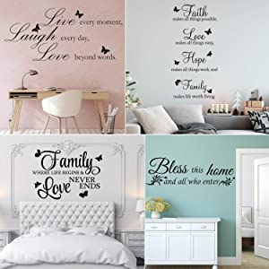 Zonon 4 Pieces Vinyl Wall Decals Faith Makes All Things Possible Live Every Moment Sticker Family Vinyl Wall Stickers Quotes Motivational Wall Quote Sayings Butterfly Wall Stickers Home Decors