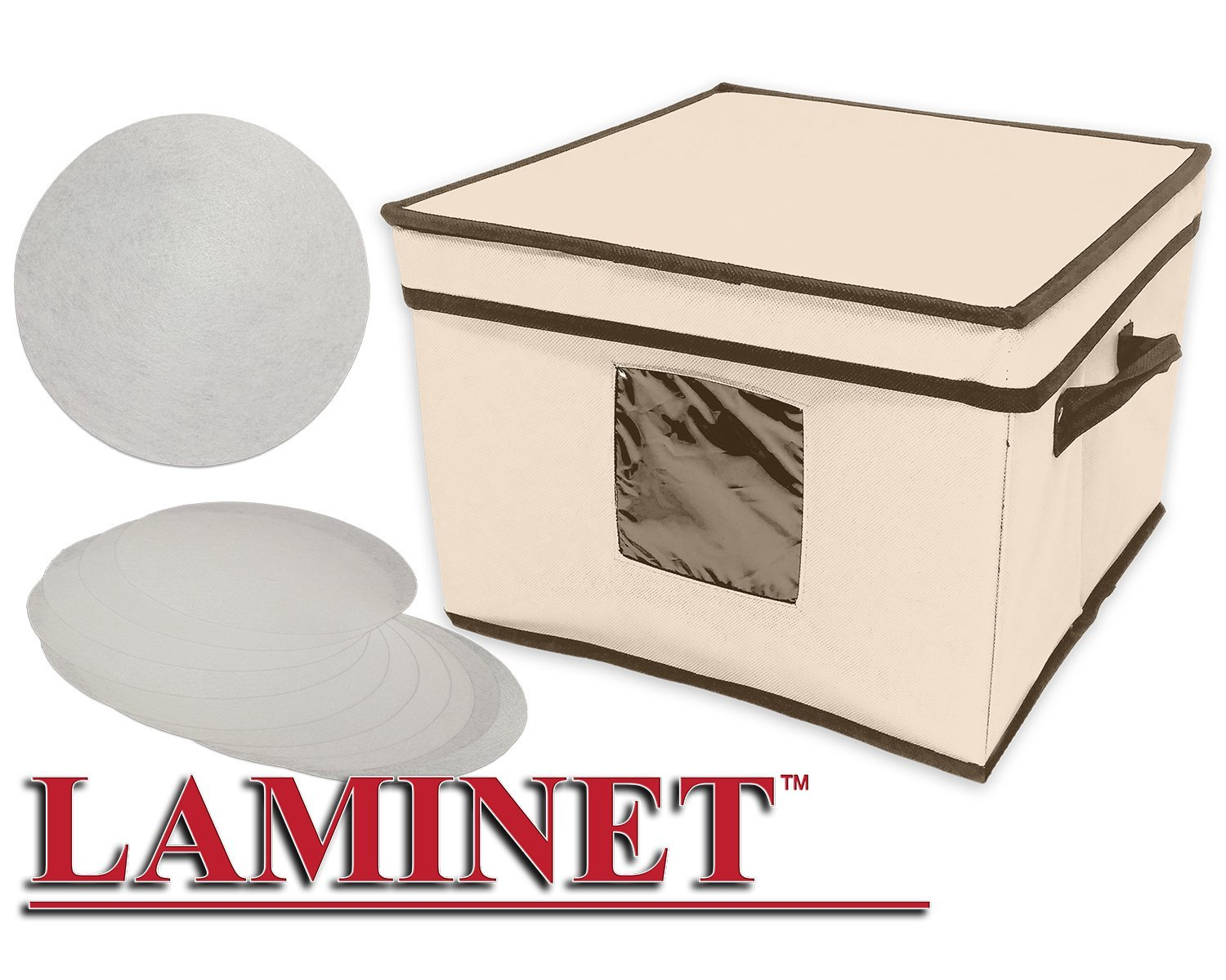 LAMINET Dinnerware Storage Box with Lid & Handles - Fits 12 Dinner Plates Sturdy BEIGE Fabric with BROWN Trim - Includes Plate Separators! - (12'' x 12'' x 8.5''H)