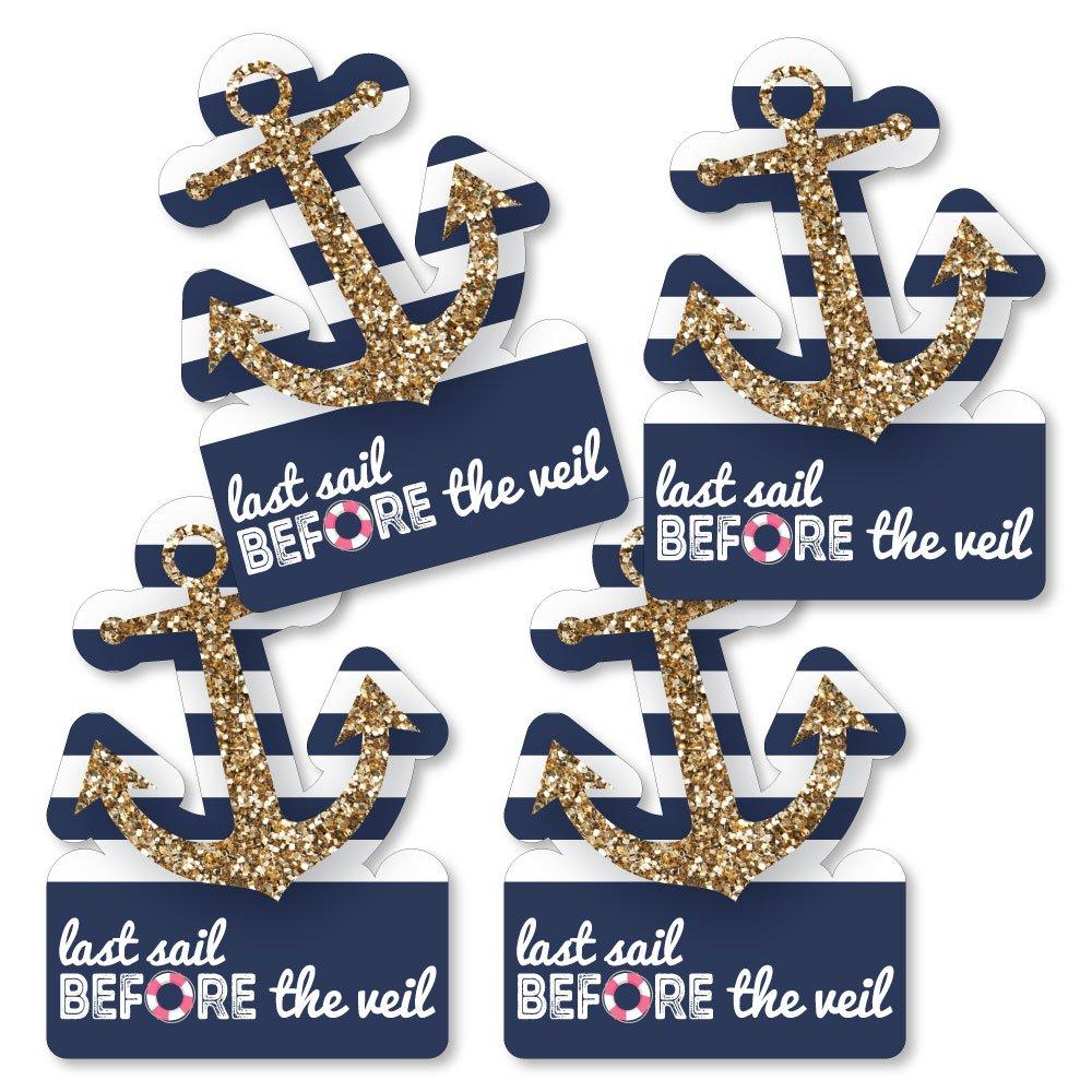 Last Sail Before The Veil - Anchor Shaped Decorations DIY Nautical Bridal Shower & Bachelorette Party Essentials - Set of 20