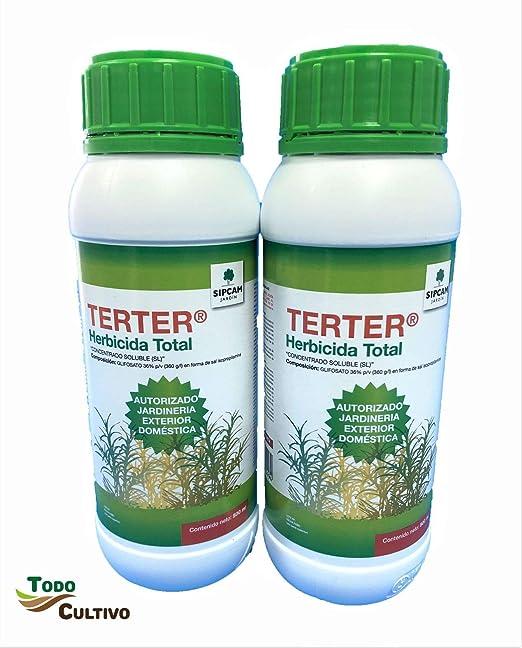 Herbicida Total glifosato 36% TERTER 1 Litro. (2x500 ml. Tratamiento válido para 60 litros de Agua) liquido Concentrado sin Efecto Residual.: Amazon.es: Jardín