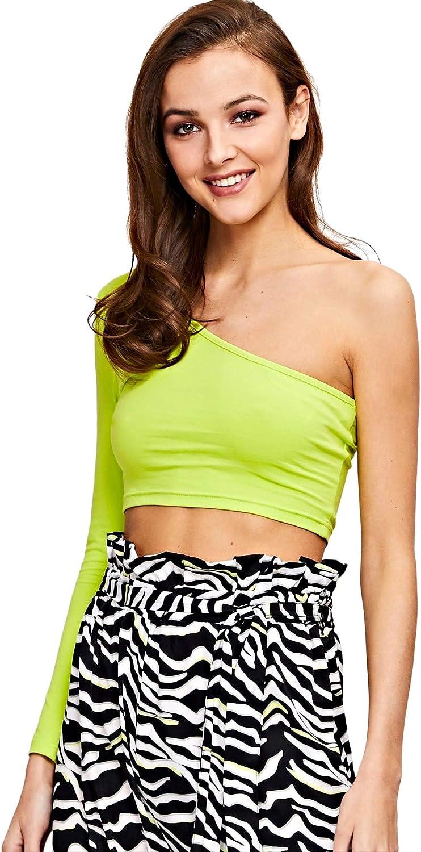 Floerns Womens One Shoulder Long Sleeve Plain Casual Crop Tops