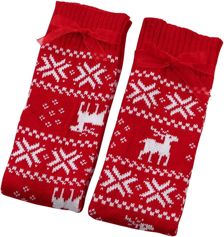 Thigh High Socks Long Cotton Stockings Warm Santa Snowman Snowflake Socks Filler