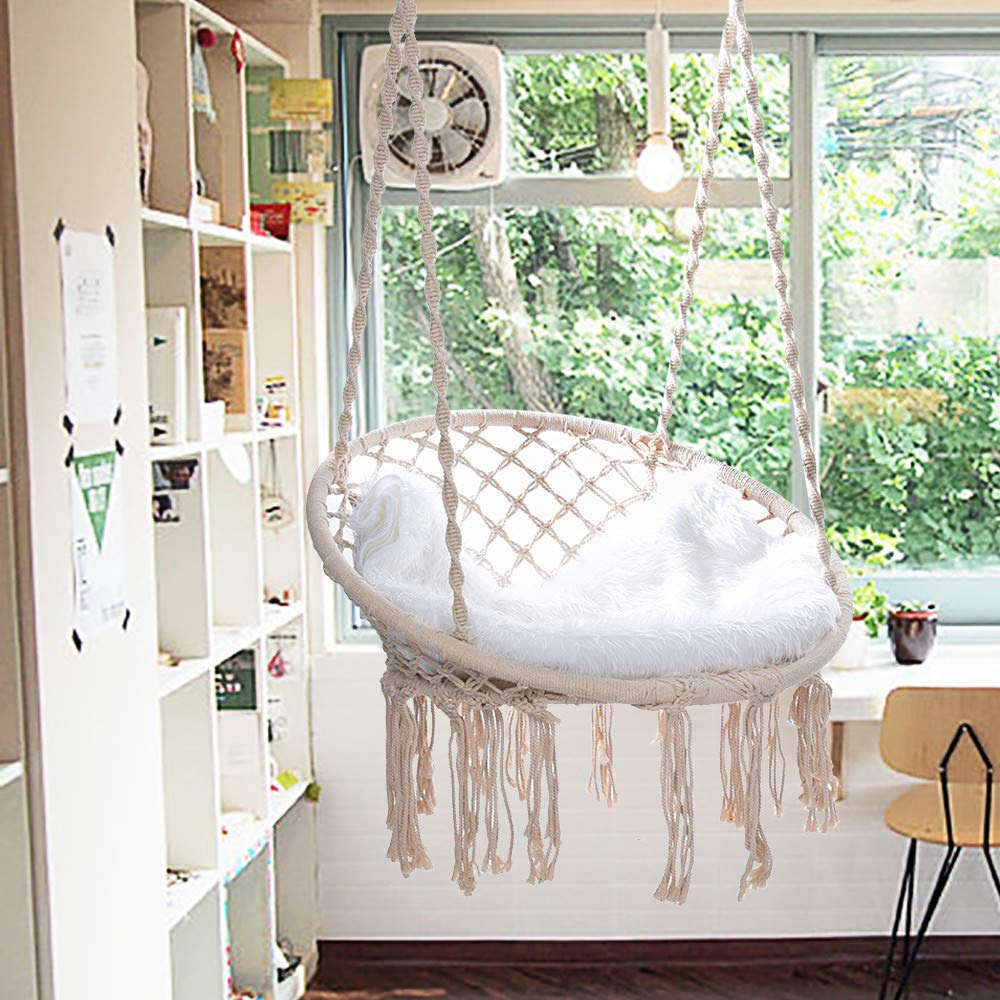Hammock Chair - Macrame Swing 330 Pound Capacity Handmade Hanging Swing Chair Prefect for Indoor/Outdoor Home Patio Deck Yard Garden Reading Leisure (White) by Hunzed Home & Kitchen (Image #4)