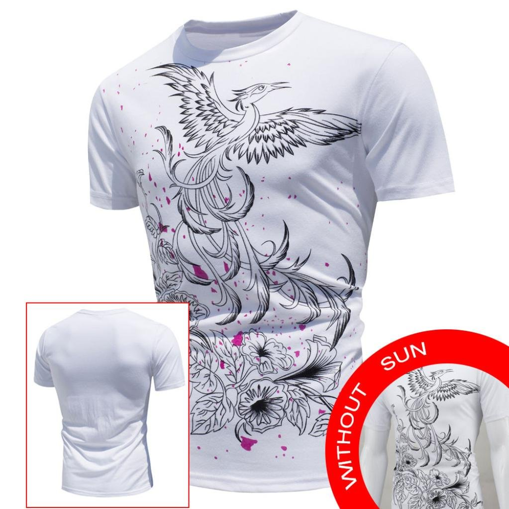 Promoci/ón de bajo Costo! Yvelands Hombres guapos de Verano O-Cuello S/úper Personalidad de la Moda Encuentro Sun Cambio de Color Camisa de Manga Corta Camiseta Casual Delgada