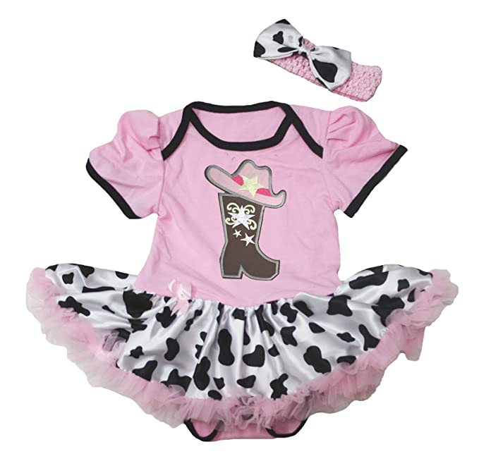 Cowgirl Boot and Hat Pink Bodysuit Cow Tutu Baby Dress