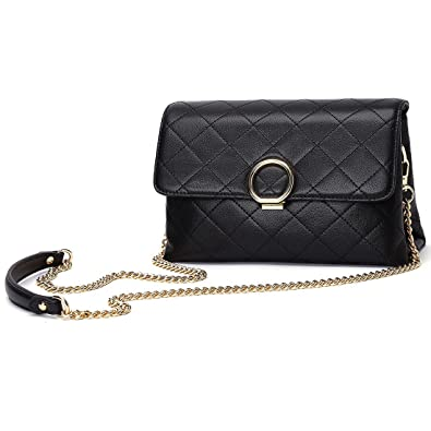 1a19028f6c Womens Black Genuine Leather Crossbody Shoulder Bag Elegant Ladies Quilted  Boxy Purse for Mother s Day