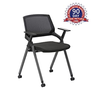 CLATINA Mesh Guest Reception Stack Chairs with Caster Wheels and Arms for Office School Church Conference Waiting Room Black