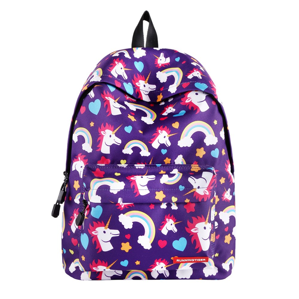 SWYIVY Purple Rainbow Unicorn Printing Student Laptop Backpack for Women-Purple