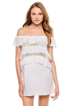 bbd299de87442 Kisuii Women's Cottons Noia Off The Shoulder Dress Swim Cover up at Amazon  Women's Clothing store:
