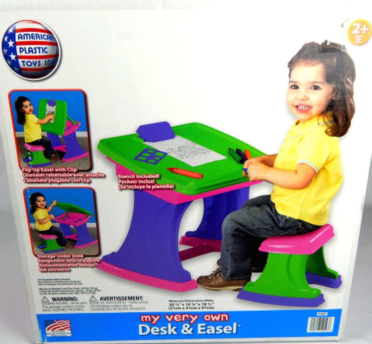 American Plastic Toys Desk and Easel Kids Art Drawing Table with Stool Storage Painting My Very Own Desk and Easel