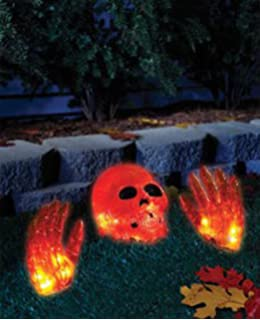 halloween decoration lighted skull and hands indooroutdoor 3 piece set with 20 clear