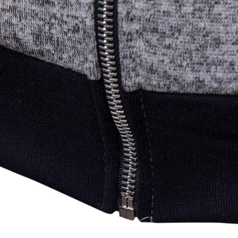 Amazon.com: GREFER Mens Long Sleeve Autumn Sweatshirt Winter Warm Patchwork Zipper Hoodies Tracksuit: Clothing