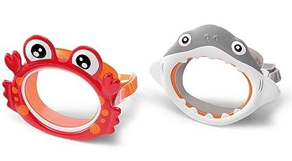 PEGANE Máscara de buceo infantil, tiburón gris y cangrejo rojo