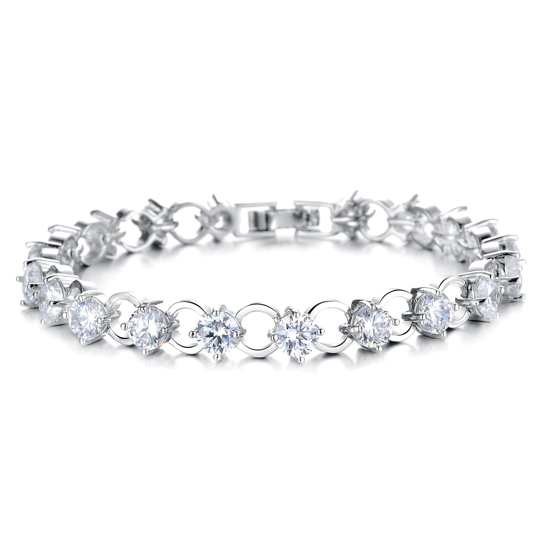 DIDa Tennis Bracelet Silver Cubic Zirconia Bracelet for Women Round Cut
