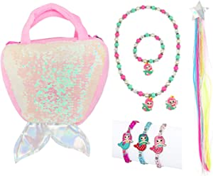 Elesa Miracle Little Girl Mermaid Plush Purse Handbag Kids Necklace Bracelet Wigs Pretend Play Toy Playset Jewelry Value Set, Pink