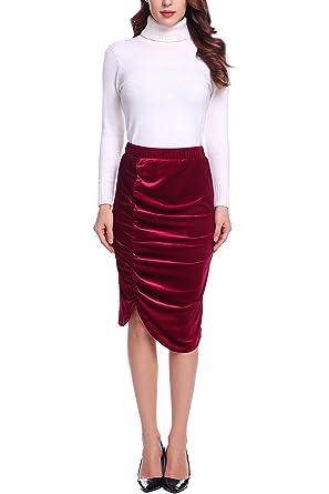 1c1bd1287 Zeagoo Elegant High Waist Midi Skirts Stretchy Velvet Pencil Ruched Skirt  For Women at Amazon Women's Clothing store: