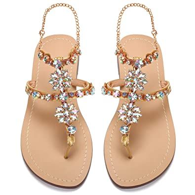 6d0a20748ec9 AZMODO 2017 Women Rhinestones Chains Flat Sandals Plus Size 1625 (US 5.5    EU 36