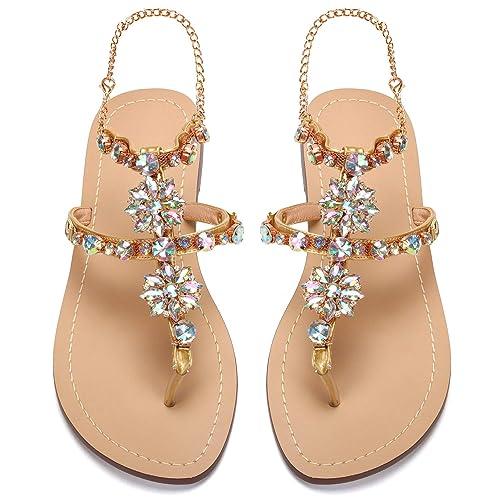 5cb40c18e905 AZMODO 2017 Women Rhinestones Chains Flat Sandals Plus Size 1625   Amazon.co.uk  Shoes   Bags