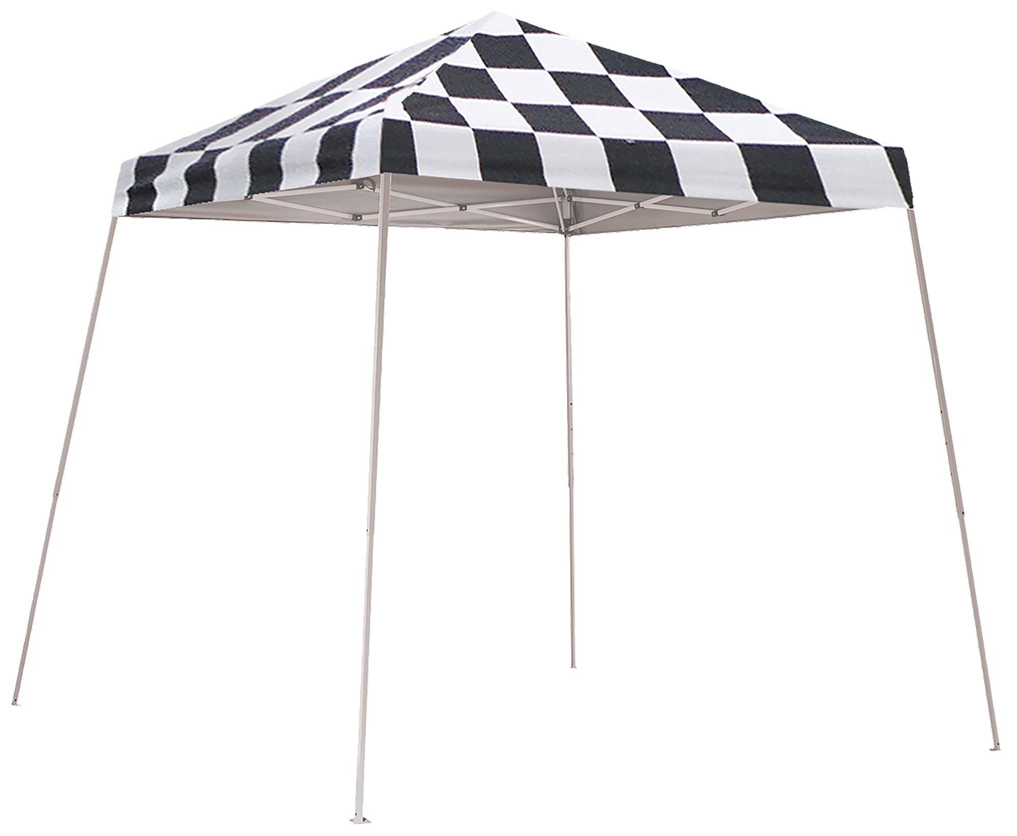 ShelterLogic Slant Leg Pop-Up Canopy with Carry Bag, Checkered Flag, 8 x 8 ft.