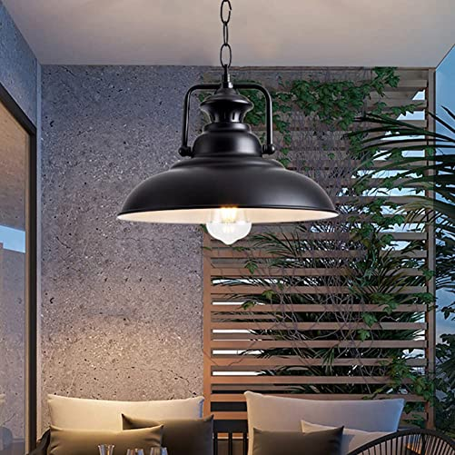 Industrial Pendant Light 12″ Rustic Farmhouse Black Metal Adjustable Pendant Lighting Fixture Vintage Hanging Pendant Light