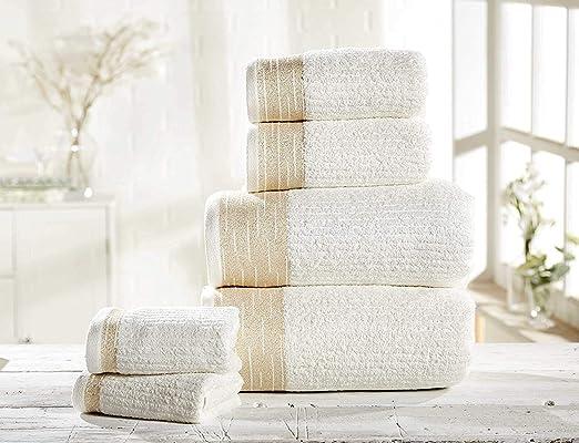 Rapport Mayfair - Juego de Toallas de baño (100% algodón Peinado, 6 Unidades, 30 x 30 cm, 50 x 85 cm, 2 Toallas de baño, 70 x 120 cm): Amazon.es: Hogar