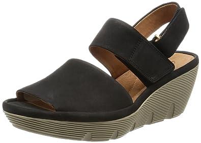 f2c08887e9d Clarks Clarene Allure Womens Wedge Heel Sandals 5 Black  Amazon.co ...