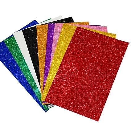 Amazon Com 10 Sheets Colorful Self Adhesive Sticky Glitter Foam